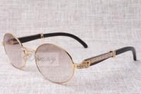 الراقية جولة النظارات الشمسية الماس 7550178 زاوية سوداء طبيعية الانحناء أفضل جودة نظارات الرجال أنثى النظارات الحجم: 57-22-135 ملم