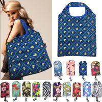 Al por mayor-Mujeres portátiles de Nylon plegable bolso de compras de impresión Shoulderbag bolso de hombro grande reutilizable mercado de playa Holiday bolsas de lavandería