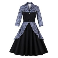 Women' s Fake Two Pieces Dress 3 4 Sleeve Vintage 1950&#...