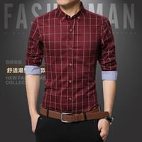 Al por mayor-2016 autaum 100% algodón de los hombres a cuadros camisas sociales puls tamaños oficina de negocios slim fit largo vestido casual camisa camisa masculina