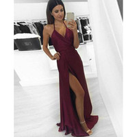 High Leg Slit Halter A-Line economici Prom Dresses Borgogna Semplice Sexy Long Night Party Dress Backless Abiti laurea Ballkleider Lang