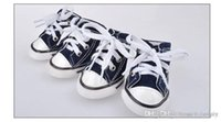 E55 4pcs lot Pet dog canvas shoes Dog Pet Shoes Pet plimsoll...
