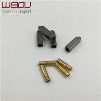 Weiou 4 adet 1 Set 5 * 5 * 19mm Altın Gümüş Gunmetal Metal Aglet İpuçları Yedek Onarım Ayak Bileşkileri Kafa Aglets Sonu DIY Sneaker Kitleri