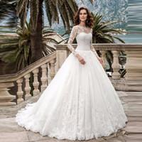 스쿠프 A 라인 긴 소매 웨딩 드레스 레이스 Applique 웨딩 드레스 2020 Bridal Gowns Vestido de Casamento