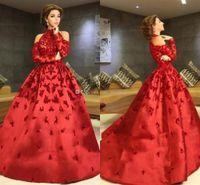 Lujo rojo Myriam Fares Vestidos de noche Cuello alto Halter Mangas largas Apliques Vestido de fiesta de satén con cuentas Vestidos de celebridades Vestidos de fiesta formales