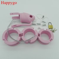 Male Pink Silicone Chastity Device Cock Cages Men' s Vir...
