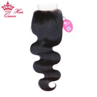 Queen Hair Products 100% Virgin Human Hair Brazilian Lace Closure Body Wave 8-20inch #1B Natural Color 8A Grade DHL Fast Shipping