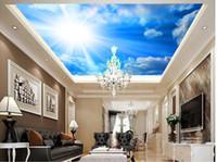 Personalizzato qualsiasi dimensione Sogno cielo blu cielo nuvole bianche soffitto sfondo muro moda arredamento decorazione della casa per camera da letto