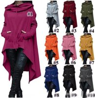 10 Colors Fashion Hoodies Irregular Long Sleeve Jackets Wome...