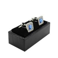 Venta caliente Joyeros Tc envío gratis Venta al por mayor 60 unids / lote Cuero Negro Hombres Gemelos de lujo caja de almacenamiento de regalo Caso personalizado Logo