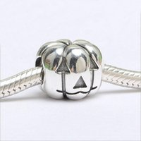 Authentic 100% 925 Sterling Silver Halloween Pumpkin Charm B...
