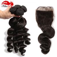 Hannah Produit Cheveux vierges malaisiens avec une fermeture vague lâche avec fermeture 3 faisceaux avec des bundles de cheveux vierges non transformés de fermeture