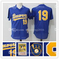 100% cousu Milwaukee Brewers # 19 Robin Yount Throwback Baseball Jerseys Hommes Mitchell Ness Royal Cooperstown Mesh Batting Practice MLB