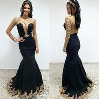 Newest Black Satin Long Sleeves Mermaid Prom Dresses Long 20...