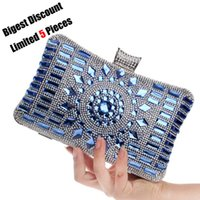Wholesale-  Designer Brands Diamond Crystal Mini Evening Party Bag Women Day Clutches Ladies Chain Gold Clutches Purses and Handbag