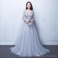 Sexig illusion kväll klänningar spets formell 2019 elie saab prom klänningar klänningar med en spets applique pärlor crew neck långa ärmar billiga