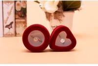 [Simple Seven] romantique ronde rouge / chérie Fenêtre d'anneau de mariage Boîte Flocage Bijoux Goujons oreille d'affichage velours cas Engagemnet