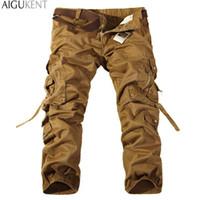 Gros-Men entraînement Multistyle Pocket Cargo Pants Combat Casual Coton en vrac Pantalons droites Taille Plus Slim Fit