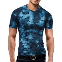 T-shirt Sexy Trou Pour Hommes Trois couleurs deux couches HIP HOP T-shirt Casual Slim à manches courtes O Cou Tops Streetwear t-shirt BMTX41 F