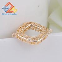 Bricolage Charms gros bijoux matériaux KC or paquet or laiton creux carré en métal bracelet bielle