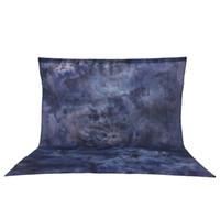 Freeshipping 3 * 3.6m 100% reiner Baumwollmusselin-zusammenklappbarer Retro- Krawatten-gefärbter blau-grauer Hintergrund-Hintergrund für Foto-Studio-Porträt-Fotografie