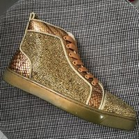 New arrival mens womens golden snakeskin leather with golden...