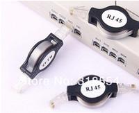 200pcs / lot retrattile LAN Ethernet cavo di rete RJ45 Nero 1.5M / 5FT libera il trasporto da DHL o FEDEX 0001