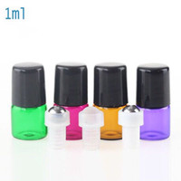 Hot sale 1ml Amber Purple Green Red Glass Essential Oil Roll...