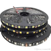 5050 블랙 PCB RGB LED 스트립 라이트 12V 5M 300LED 유연한 스트립 문자열 방수 LED 리본 테이프 램프 가정 장식 빛