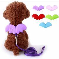 귀여운 천사 애완 동물 강아지 끈 및 칼라 세트 강아지 세트 작은 개 고양이 디자이너 날개 조정 가능한 개 하네스 애완 동물 액세서리 HJIA1104