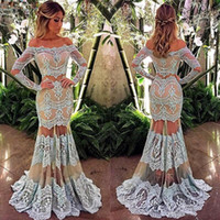 Two Pieces Lace Mermaid Prom Dresses 2017 Arabic Off Shoulde...
