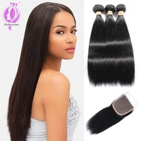 Peruvian Hair With Closure Straight Peruvian Human Hair with...