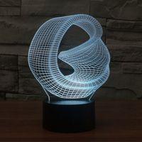 Искаженные Space 3D Аннотация видение Удивительные оптические иллюзии 3D Эффект 7 цветов Изменение Сенсорный Боттон светодиодные Настольная лампа Night Light