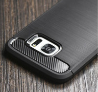 Funda Slim Armor de TPU con cepillado de fibra de carbono para iPhone X XS XR MAX 8 7 6 6s Plus Galaxy S9 S8 Plus Nota 9 8 Cubierta del borde S7