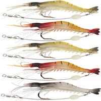 Het verkrijgen van 5 stks / partij 9cm / 6G Zachte vissen lokken Garnalen Lichtgevend kunstmatig aas met Swivel 3 Kleuren Vissen Lokjes Aas