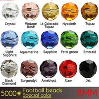 2017ファッションブレスレットビーズ中国のフットボールガラスクリスタルビーズ8mm特別な色A5000 72pcs /卸売価格で設定