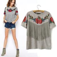 Wholesale-2016 Sommer neue Frauen Großhandel Kurzarm Brust Quaste Fransen Rosen floral gedruckt Rundhalsausschnitt grau Tribal High Street T-Shirt