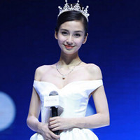 Celebrity Angelababy Wedding Tiaras&Crown Faux Pearls Rhines...