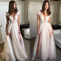 2018 New Champagne Prom Dresses Short Cap Sleeves A Line App...