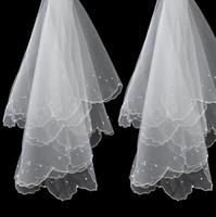2019New Peçe Ile Gelinlik Gelin Kıyafeti Boncuk İki katmanlı Beyaz Fildişi Omuz Uzunluğu Şerit Kenar Kırmızı ve Beyaz