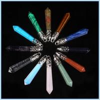 Colliers Pendentifs Prisme hexagonal Gemstone Rock Cristal Naturel Cristal Naturel Quartz Point de guérison Chakra Stone Charame Chaînes Colliers pour femmes - 0580Wh
