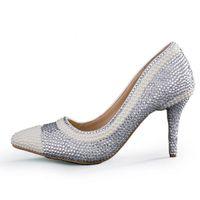 Sexy Rhinestone rosado del dedo del pie puntiagudo zapatos de novia correas del tobillo hermosa boda fiesta de noche bombas moda tacones medios hechos a mano