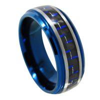 男性のためにブラシをかけられた8mmの青と黒の炭素繊維のインレイブルータングステンリング -  1316