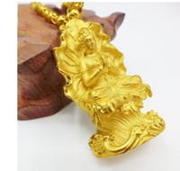 ouro dos homens de alta qualidade cheia abençoe Kuanyin pingente de colar feryy