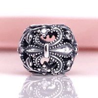 Fleur-De-Lis Charm With Lavender Enamel Fit For Silver Snake Chain Bracelet And Necklace Wholesale DIY Fashion Jewelry 791378CZ