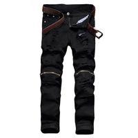 Moda Erkek Siyah Yırtık Kot Pantolon Diz Fermuar Slim Fit Sıkıntılı Jean Pantolon Düz Tahrip Torn Denim Joggers Erkek Tahrip