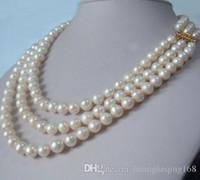 Vente chaude 3 rangée naturelle 9-10mm akoya blanc collier de perles 18 pouces 19inch 20inch 14k or fermoir