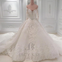 Luxury Ball Gown Arabic Wedding Dresses Off The Shoulder Lac...