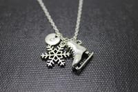 Recién llegado de la venta caliente 12 unids / Antique Silver Ice Skate Charm collar colgante invierno copo de nieve inicial collar de joyería de invierno
