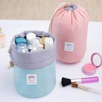 전화 가방 새로운 한국어 우아한 대용량 배럴 모양의 나일론 워시 주최자 저장 여행 드레서 파우치 화장품 메이크업 가방 여성